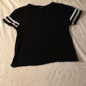 Black Tee With White Stripes on the Arms